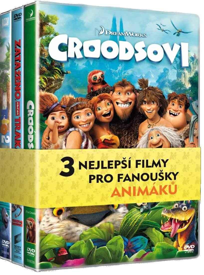 ANIMOVANÉ FILMY (Croodsovi, Zataženo občas trakaře 2, Rio 2) - 3 DVD