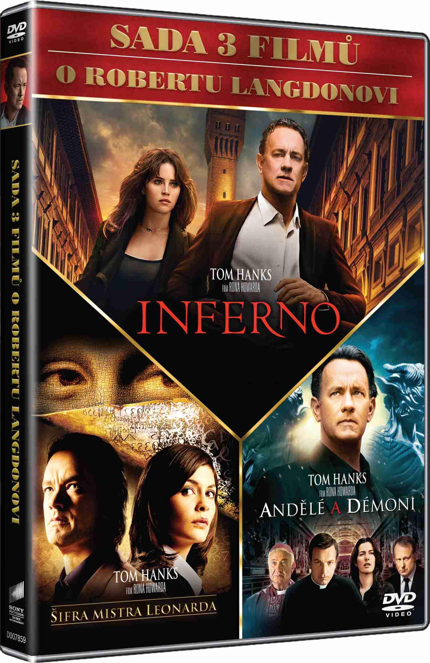 DAN BROWN KOLEKCE (Šifra mistra Leonarda, Andělé a démoni, Inferno) - 3 DVD