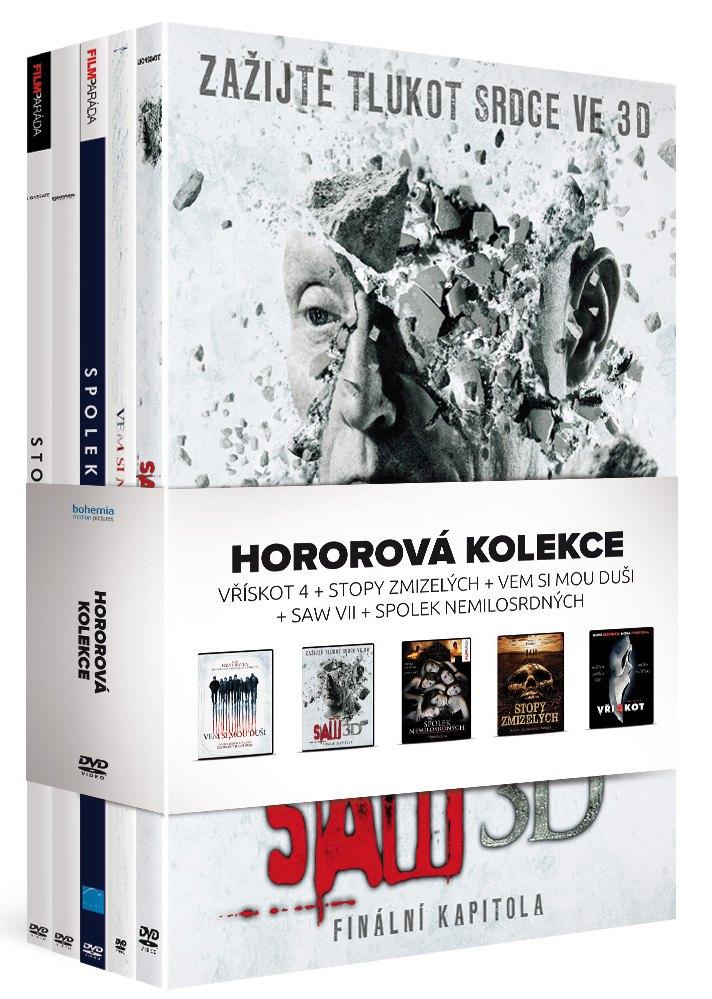 Hororová kolekce 5xDVD: Vřískot 4 + Stopy zmizelých + Vem si mou duši + Saw VII