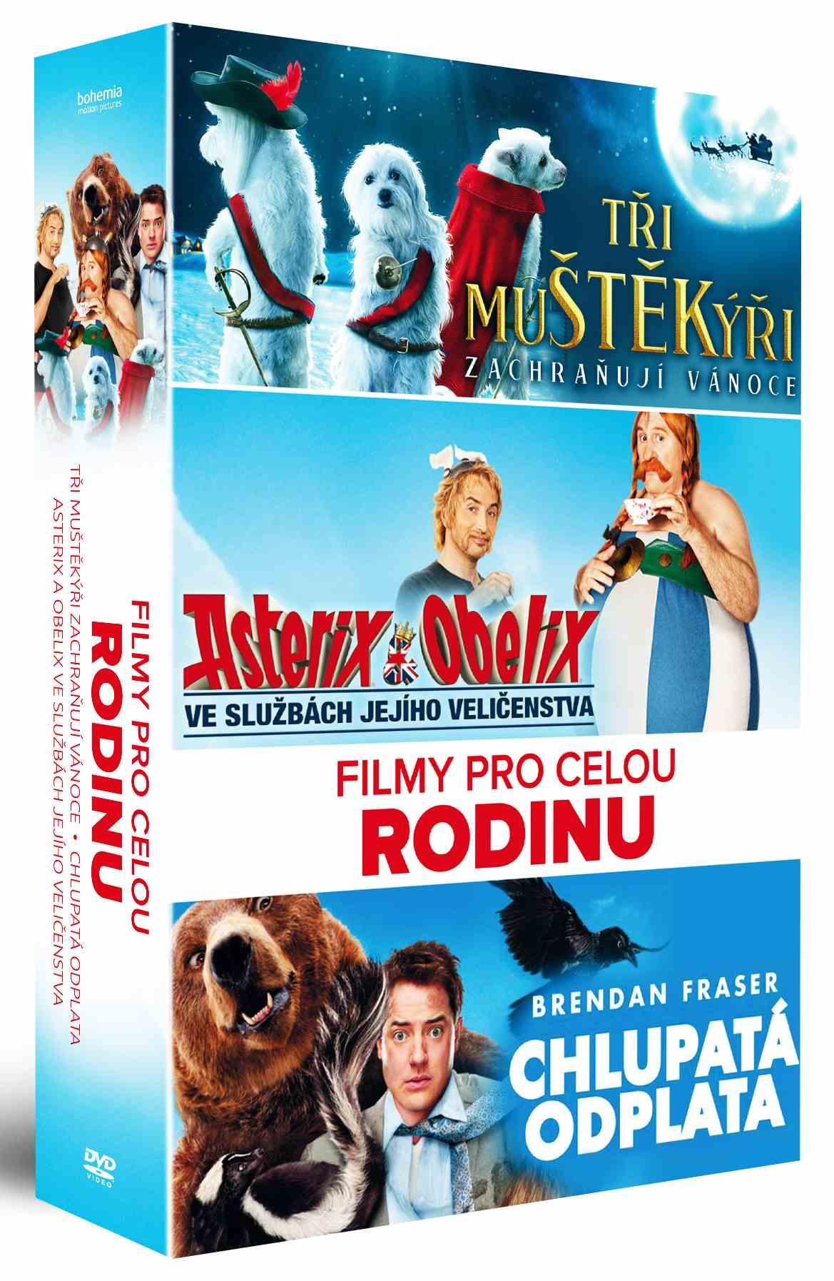 Filmy pro celou rodinu (Tři muŠTĚKýři + Chlupatá odplata + Asterix) - 3 DVD