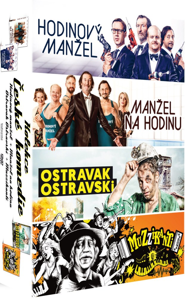Kolekce České komedie (4DVD) - Manžel na hodinu 1+2 + Ostravak + Muzzikanti