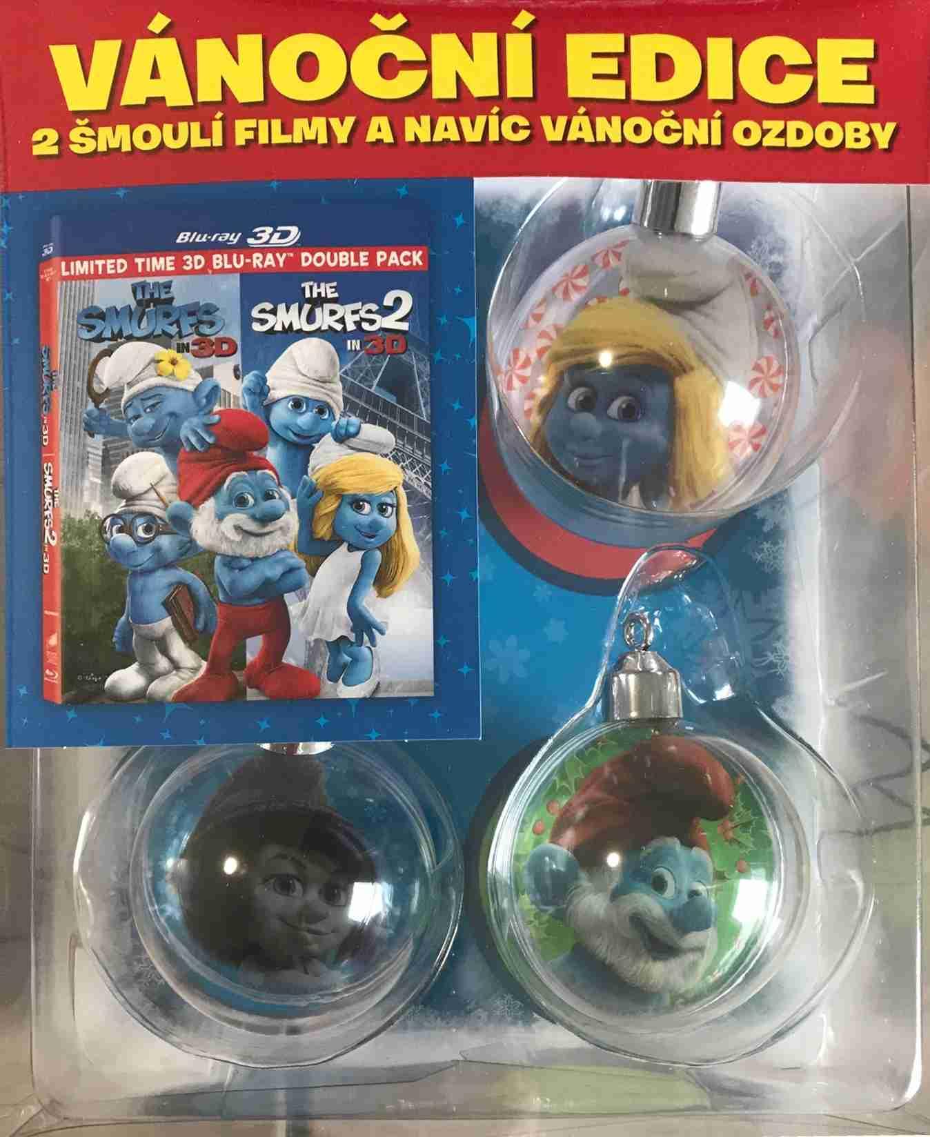 ŠMOULOVÉ 1+2 KOLEKCE - Blu-ray 3D + vánoční ozdoby