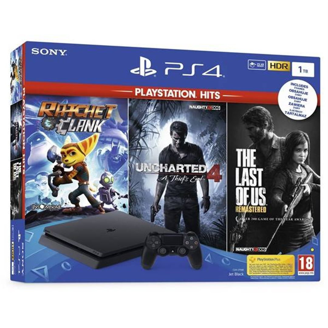 PS4 - Playstation 4 1TB + 3hry (Uncharted 4, Last of Us, Ratchet&Clank)