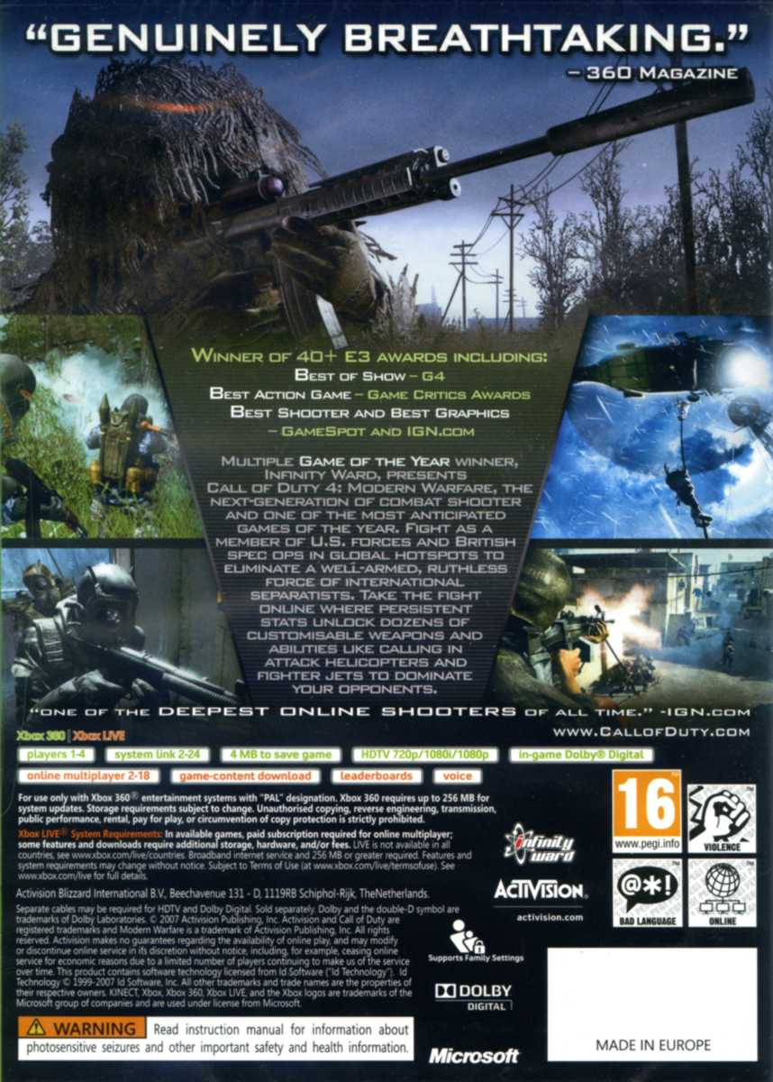 CALL OF DUTY 4: MODERN WARFARE - X360