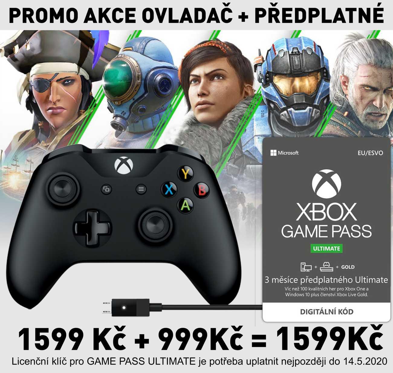 Xbox One S Wireless Controller Black + kabel pro Windows