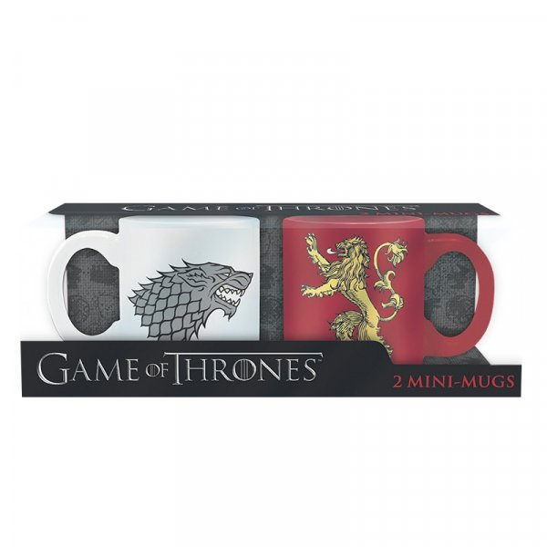 detail Hrnečky Game of Thrones 110ml set 2ks Stark & Lannister