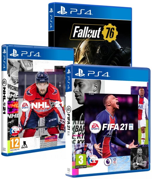 detail FIFA 21 + NHL 21 + Fallout 76 (3 hry) PS4